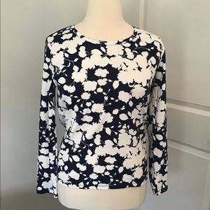 WHITE STAG navy and white floral l/s cotton tee